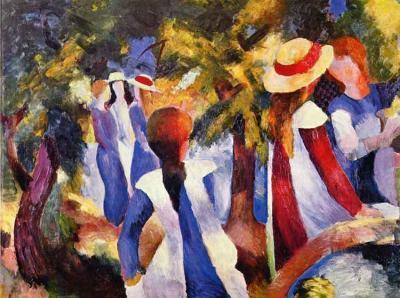 Muchachas bajo los árboles - August Macke