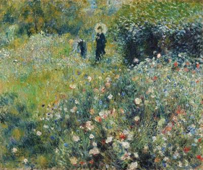 Mujer con sombrilla en un jardín de Renoir