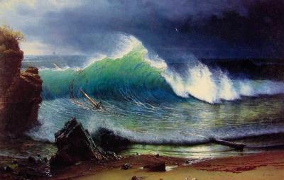Orilla del mar esmeralda - Albert Bierstadt