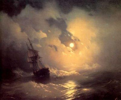 Tempestad en el mar por la noche - Ivan Aivazovsky