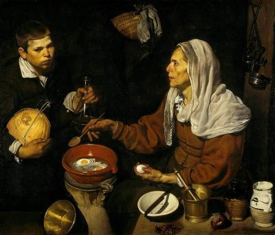 Vieja friendo huevos de Velázquez