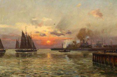 Mañana de niebla sobre el puerto de San Petersburgo - Eugen Dücker