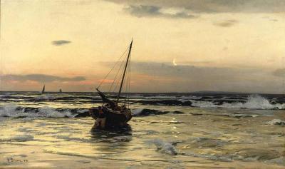 Puesta de sol en el mar - Eugen Dücker