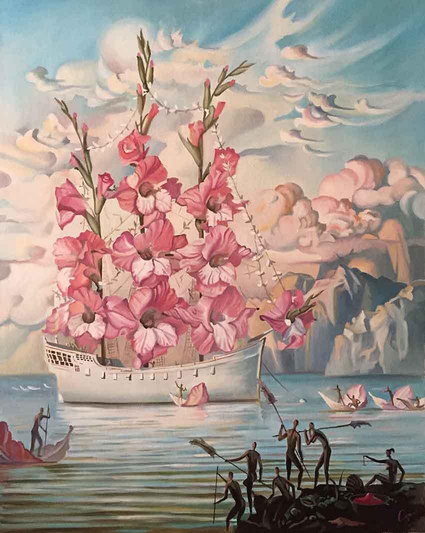 """Reproducción de """"La llegada de las flores"""" de Vladimir Kush"""