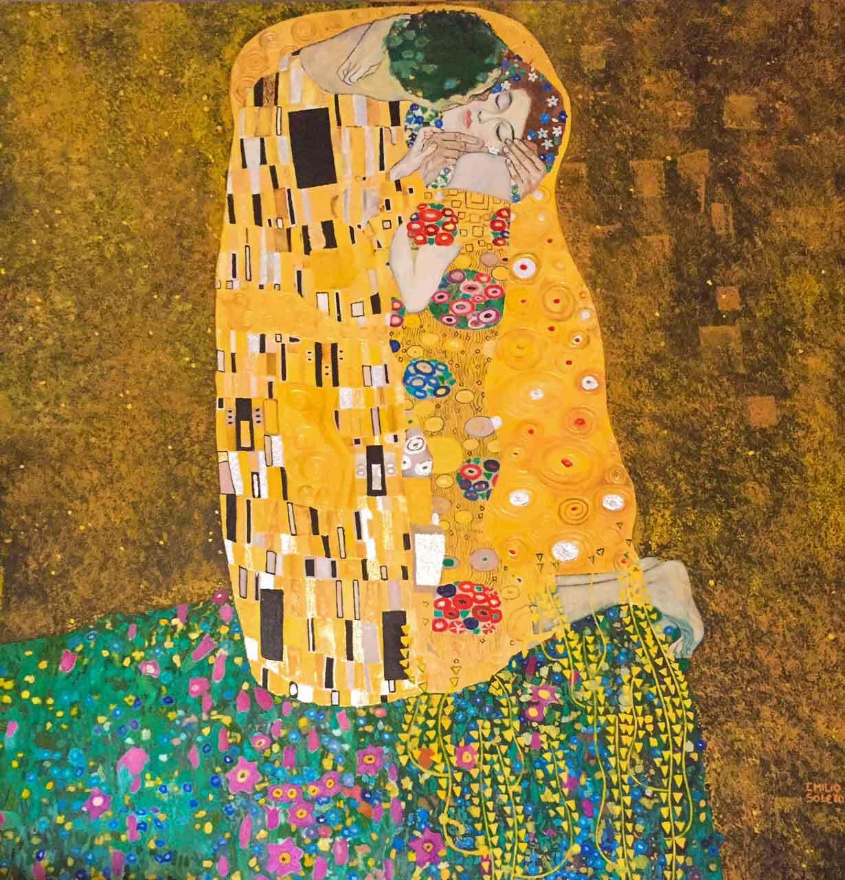 """Reproducción de """"El beso"""" de Klimt"""