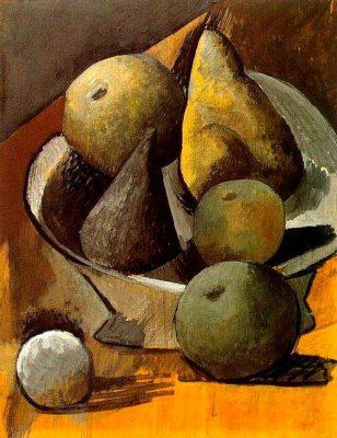 frutero con peras y manzanas