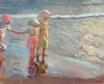 Las tres hermanas en la playa - Joaquín Sorolla