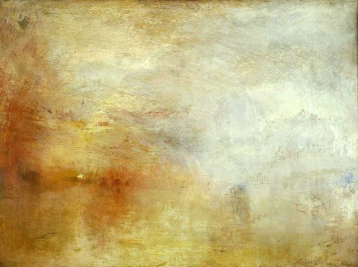 Puesta de sol sobre un lago de William Turner