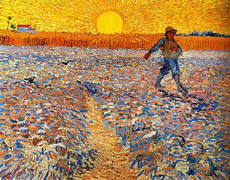 El sembrador a la puesta de sol - cuadros de Van Gogh