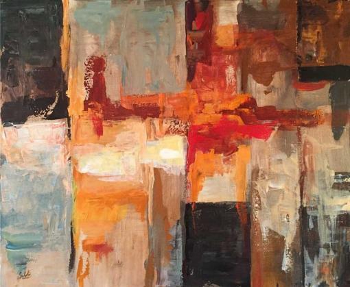 Cuadro abstracto fuego