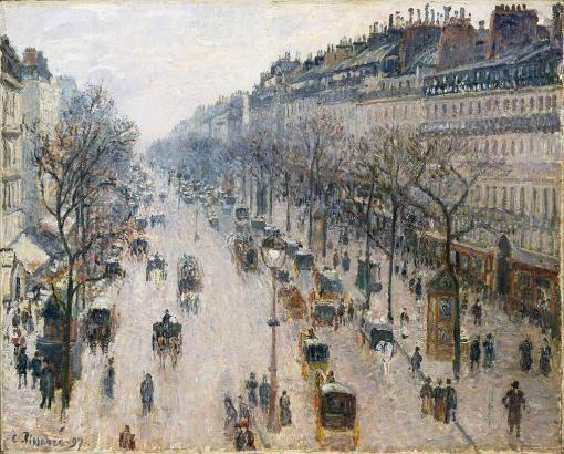 Boulevard Montmartre, una mañana de invierno de Camille Pissarro