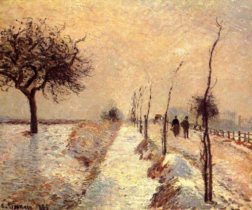 Carretera en eragny, invierno de Camille Pissarro