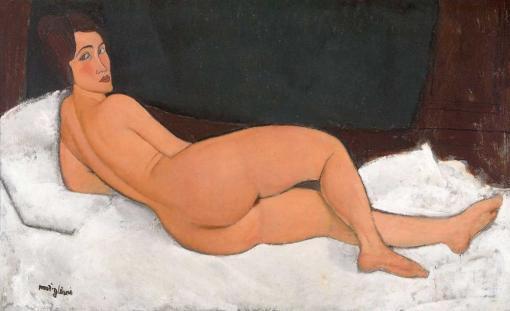 Desnudo mirando por encima de su hombro derecho de Modigliani