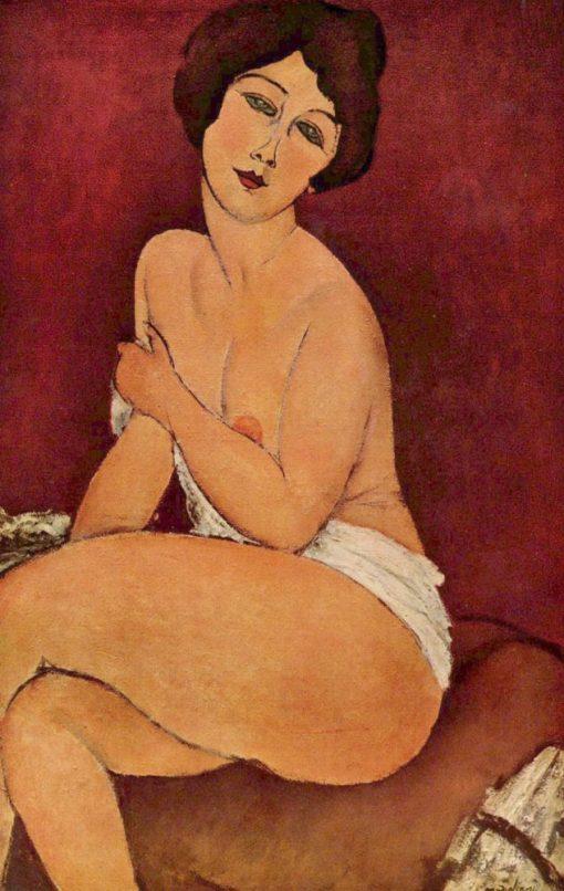 Desnudo sentado en un diván de Modigliani