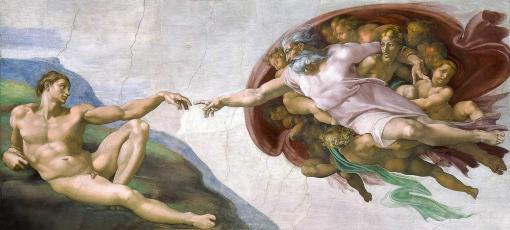 La creación de Adán de Miguel Ángel Buonaroti