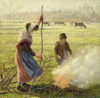 Joven campesina encendiendo fuego de Camille Pissarro, decoración
