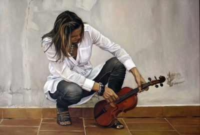 I want to play the violin, realistic painting