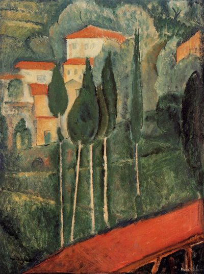 Paisaje, sur de Francia de Modigliani