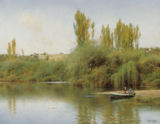 Orilla del Guadaíra con barca de Emilio Sánchez Perrier