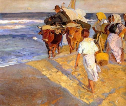 Sacando la barca de Joaquín Sorolla