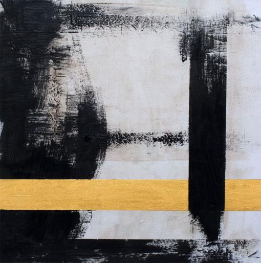 Abstracto, lineas negras y doradas por Copiamuseo