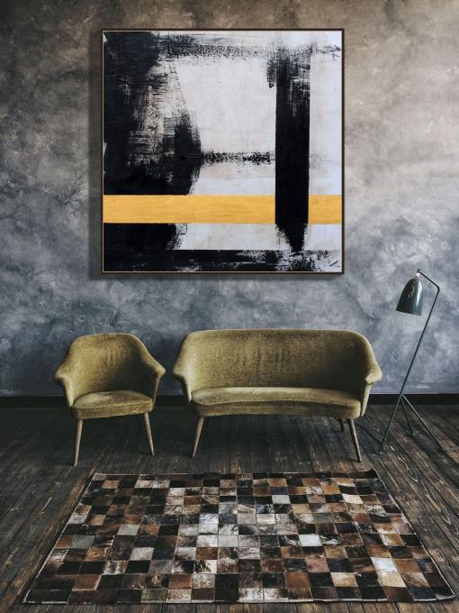 Abstracto, lineas negras y doradas por Copiamuseo, decoración