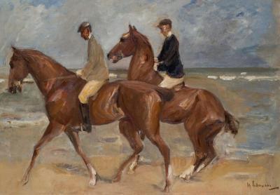 Dos jinetes en la playa a la izquierda de Max Liebermann