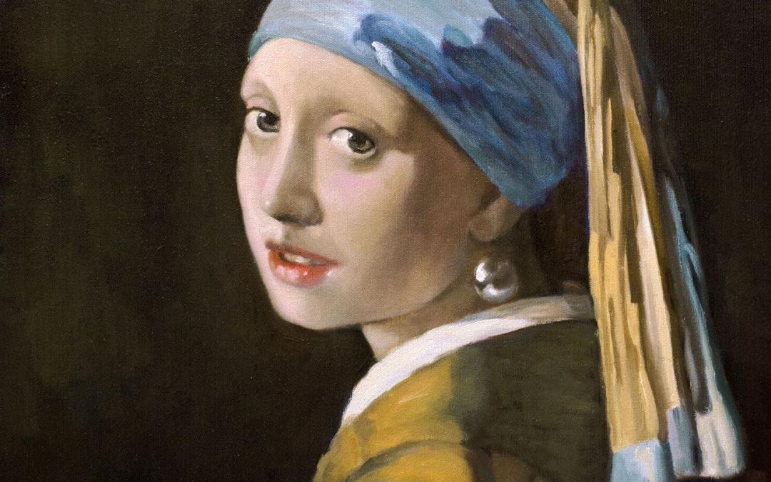 Reproducción de La joven de la perla de Vermeer