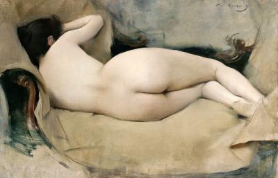 Mujer desnuda echada de espaldas de Ramón Casas