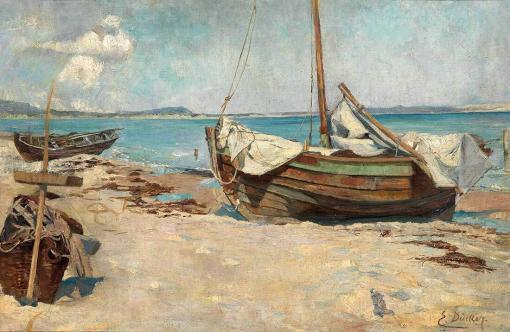 Barcos de pesca en la playa de Eugen Dücker