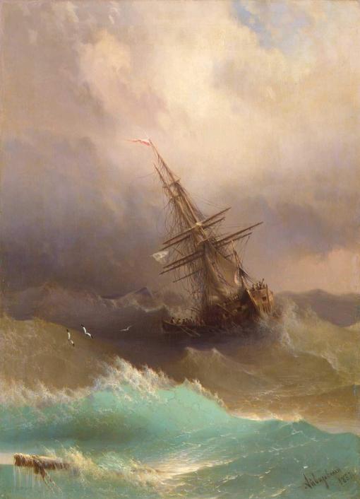 Barco en un mar agitado de Iván Aivazovsky