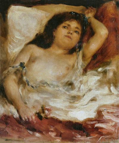 Mujer semidesnuda acostada de Renoir