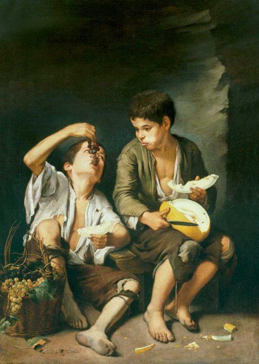 Niños comiendo uvas y Melón de Murillo