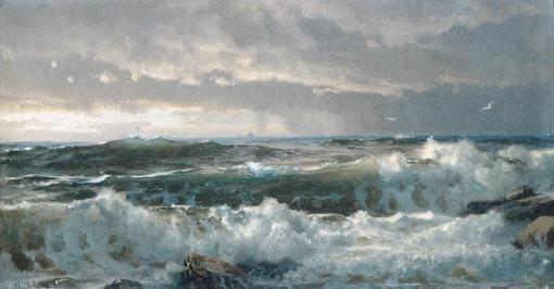 Surf en las rocas de William Trost Richards