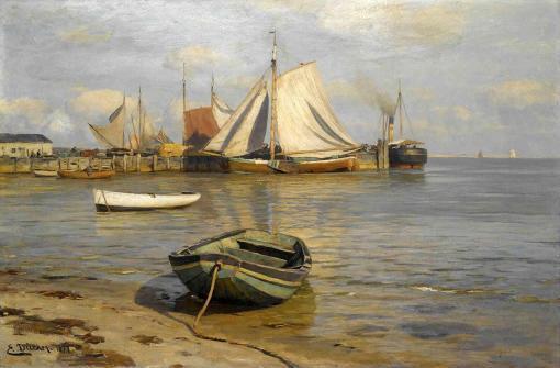 Escena de puerto de Eugen Dücker