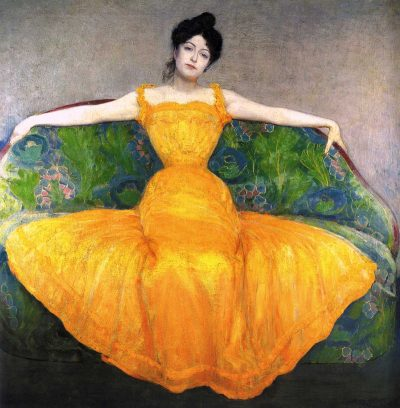Mujer con un vestido amarillo de Max Kurzweil