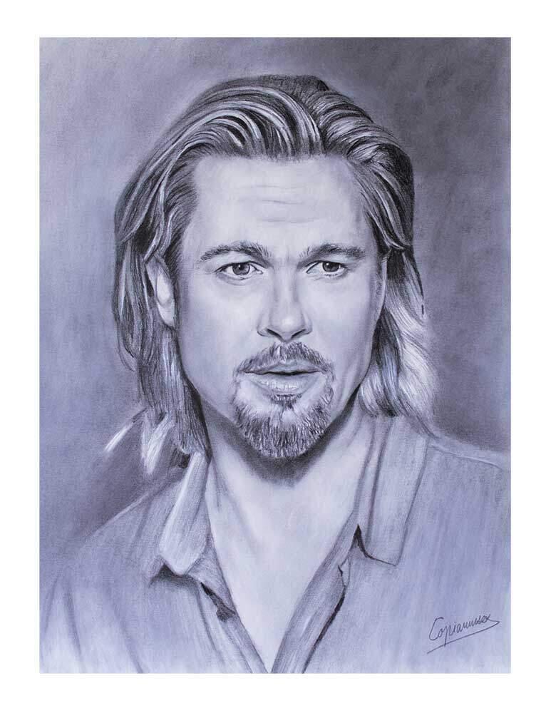 Retrato a lápiz de Brad Pitt