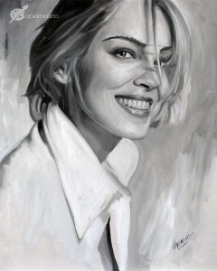 Retrato a óleo sobre tabla de Sharon Stone