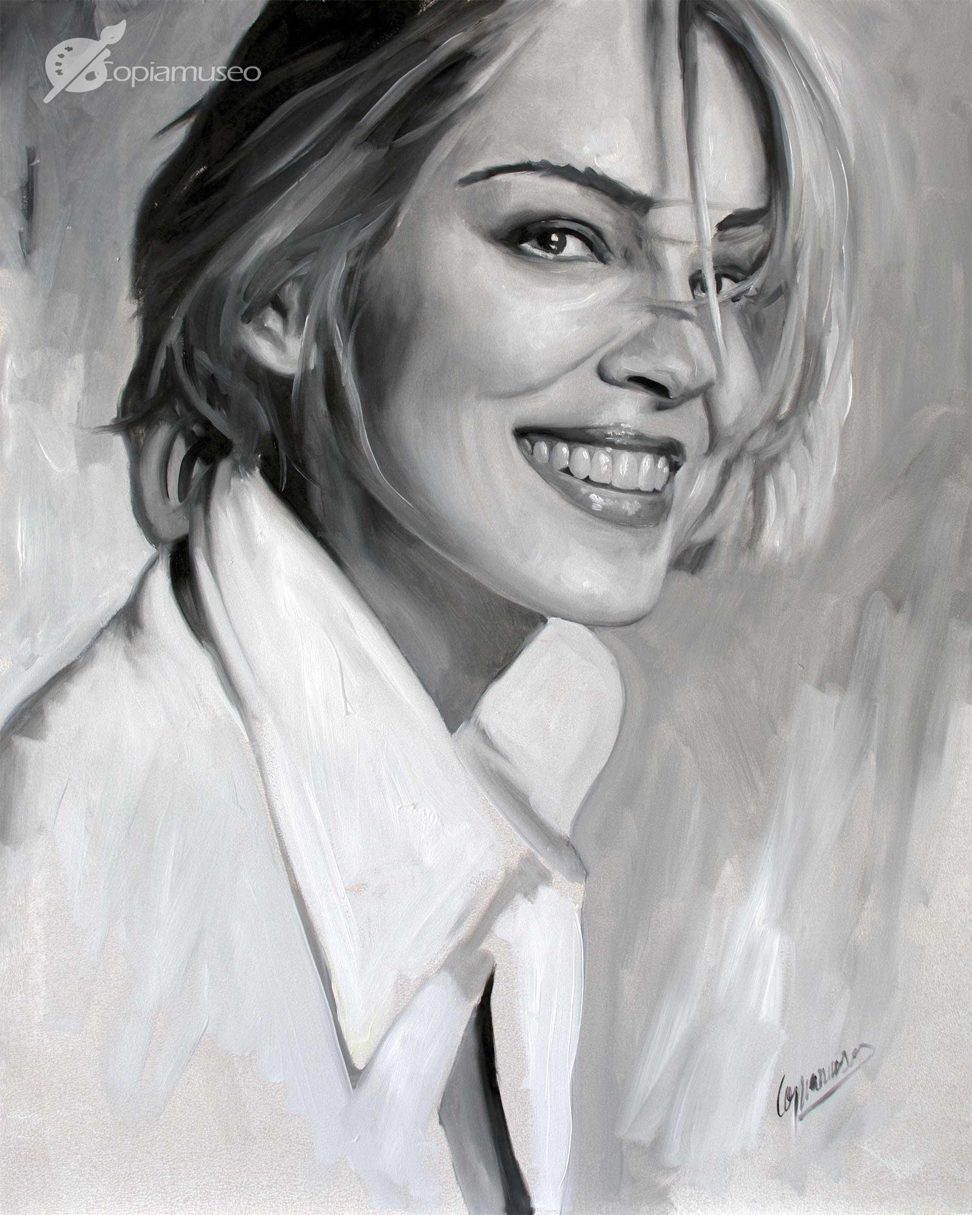 Retrato a óleo sobre tabla de Sharon Stone