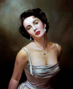 Retrato al óleo de Elizabeth Taylor