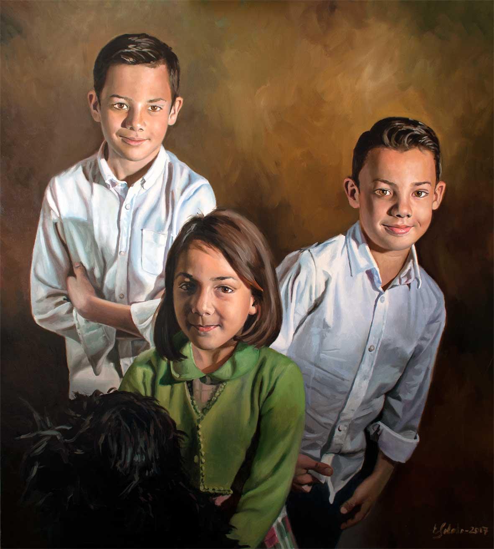 Retrato triple al óleo