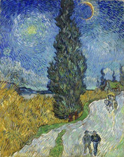 Camino rural en la Provenza por la noche de Van Gogh