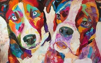 Retrato de dos perros estilo Nielly