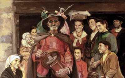Reproducción al óleo de Guiñol en la aldea de Luis Menéndez Pidal