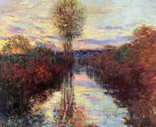 El Brazo Pequeño del Sena en Mosseaux, al atardecer de Monet