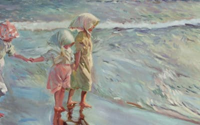 Copia de «Las tres hermanas en la playa» de Sorolla