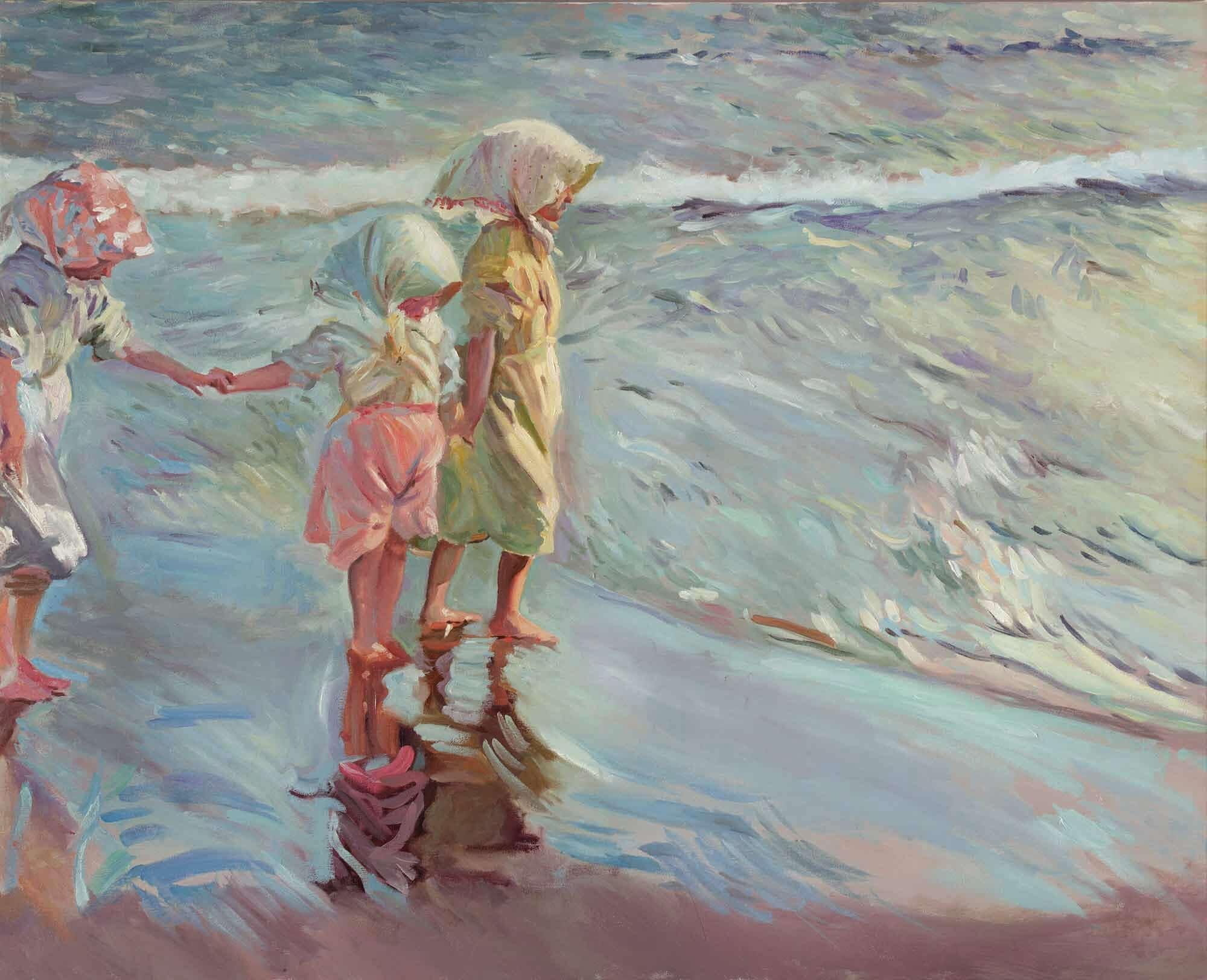 Reproduccion al óleo de las tres hermanas en la playa de Sorolla