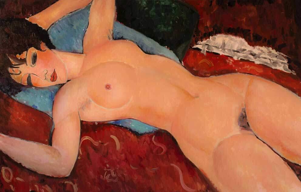 Reproducción de «Desnudo acostado» de Modigliani