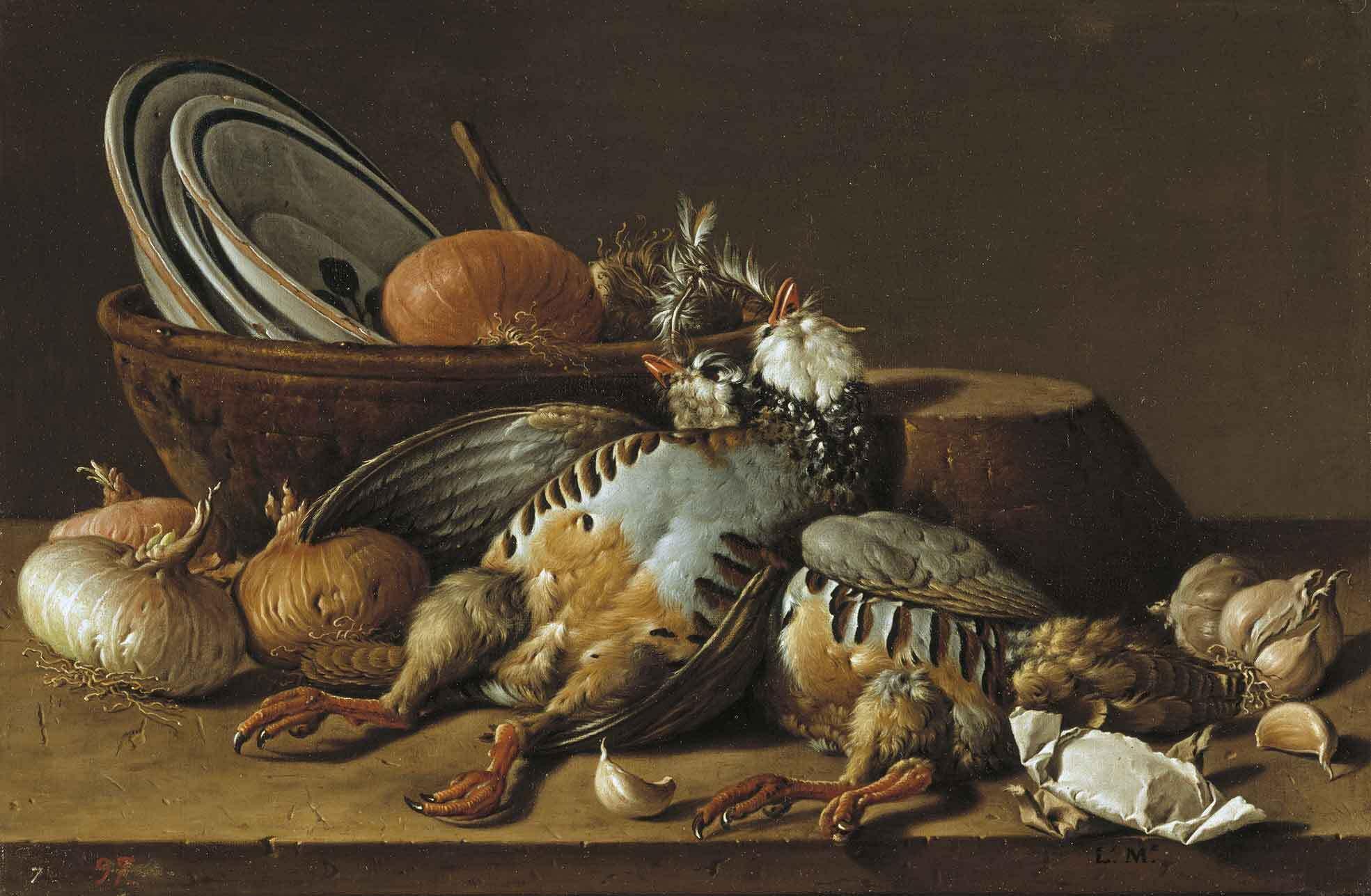 Bodegón con perdices, cebollas, ajos y recipientes, de Luis Egidio Meléndez