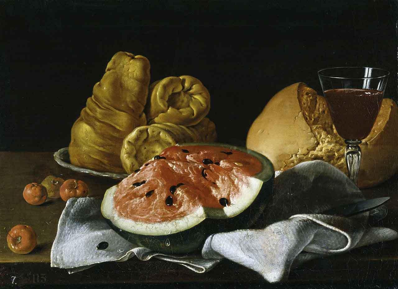 Bodegón con sandía y acerolas, quesos, pan y vino, de Luis Egidio Meléndez